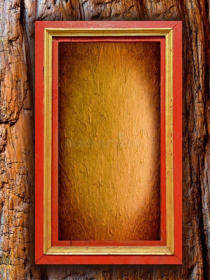 Houten uitstekend frame met document achtergrond op ol stock afbeelding