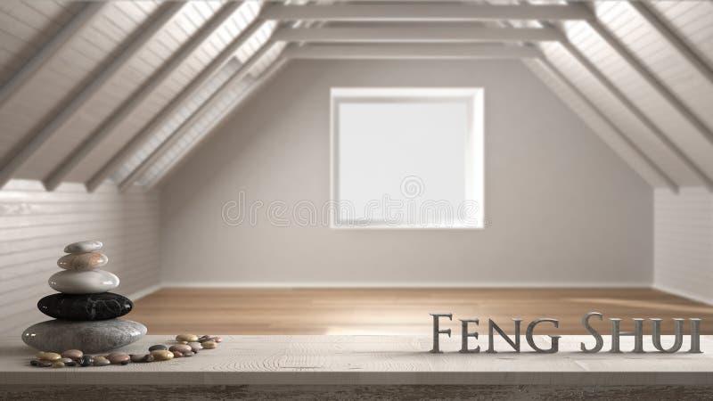 Houten uitstekende lijstplank met kiezelsteensaldo en 3d brieven die woord feng shui over vage lege ruimte, zolder, zolder maken, royalty-vrije stock afbeelding