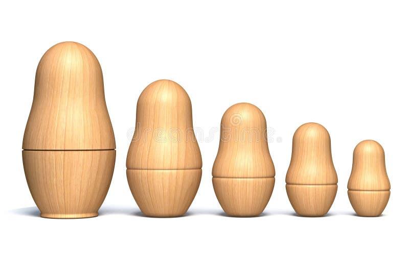 Houten unpainted 3D matryoshkapoppen royalty-vrije illustratie