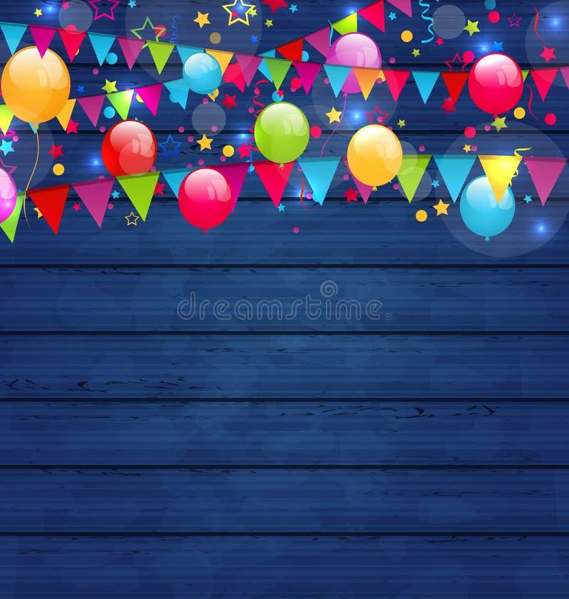 Houten vakantieachtergrond met multicolored ballons en hangin vector illustratie
