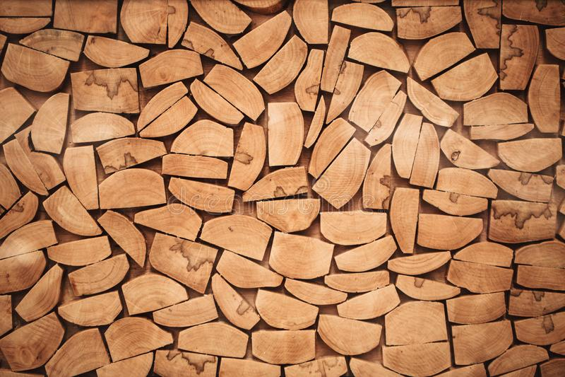 Houten van het de besnoeiings houten hout van de logboekplak de muurtextuur stock fotografie