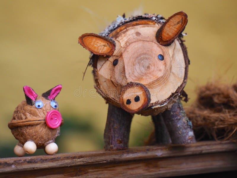 houten varken royalty-vrije stock afbeelding