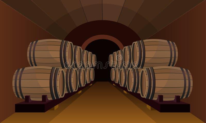 Houten vaten in de wijnkelder stock illustratie