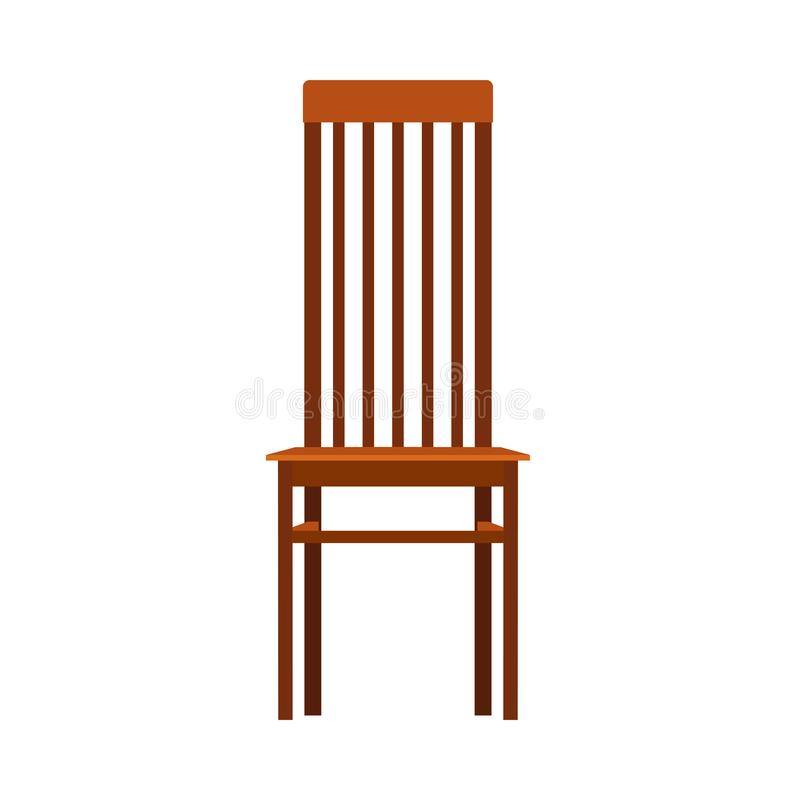 Houten vector het pictogrammeubilair van het stoel vooraanzicht Het klassieke binnenland zit Retro bruine het elementen vlakke ru royalty-vrije illustratie
