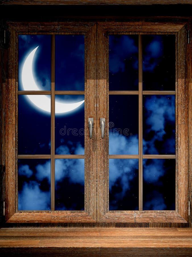 Houten venster en halve maan vector illustratie