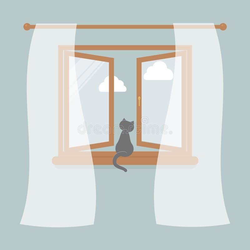 Houten venster met Tulle als ontwerpelement voor binnenland van ruimte op blauwe achtergrond Buiten de hemel en de witte wolken D royalty-vrije illustratie