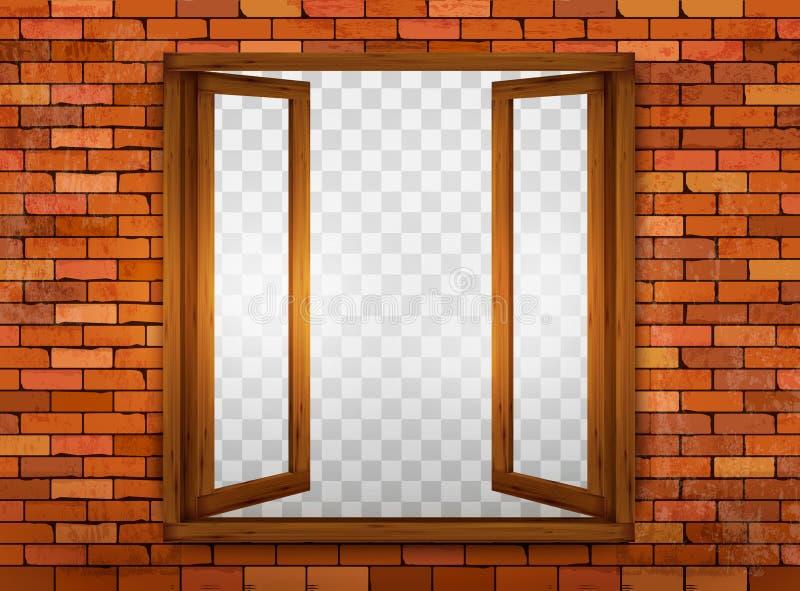Houten venster op de vensterbank royalty-vrije illustratie