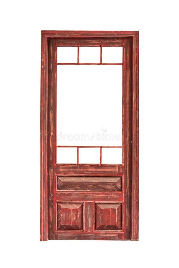 Houten verglaasde die deur zonder glas op witte achtergrond wordt geïsoleerd stock afbeeldingen
