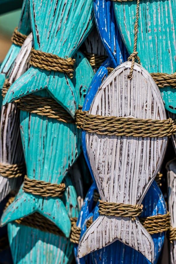 Houten vissen stock foto's