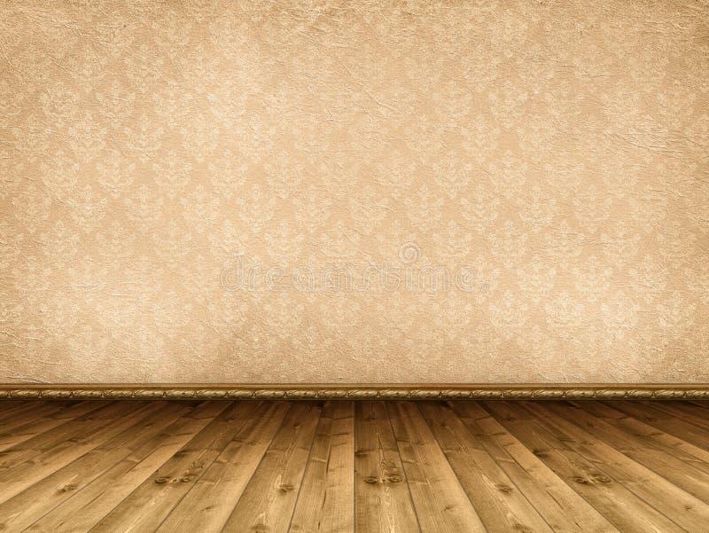 Houten vloer en uitstekend behang stock fotografie