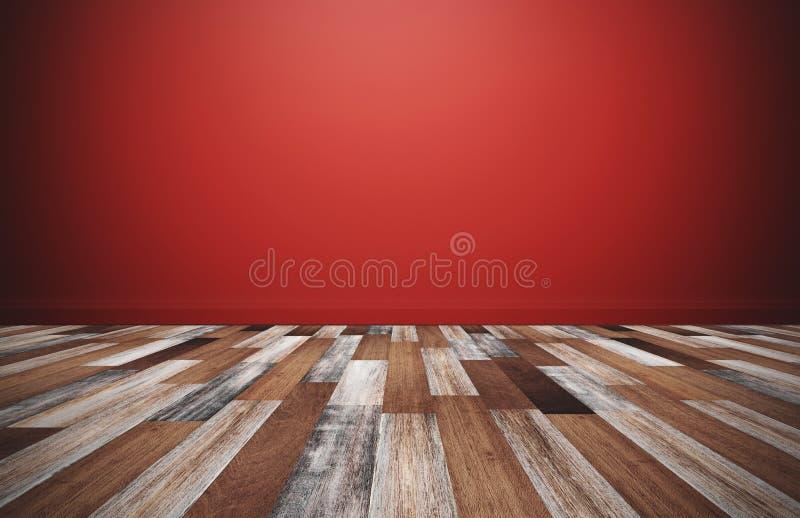 Houten vloer met rode muur, lege ruimte voor achtergronden stock afbeeldingen