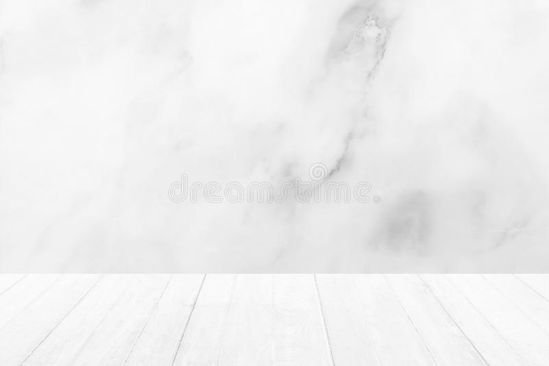 Houten Vloer met Witte Marmeren Achtergrond royalty-vrije stock afbeelding