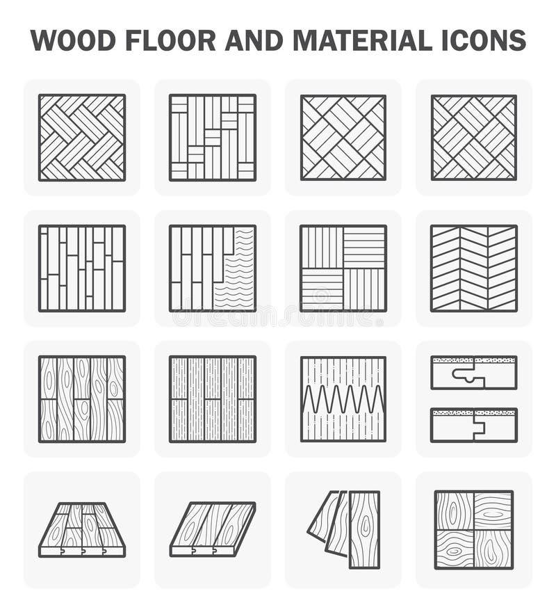Houten vloerpictogrammen vector illustratie