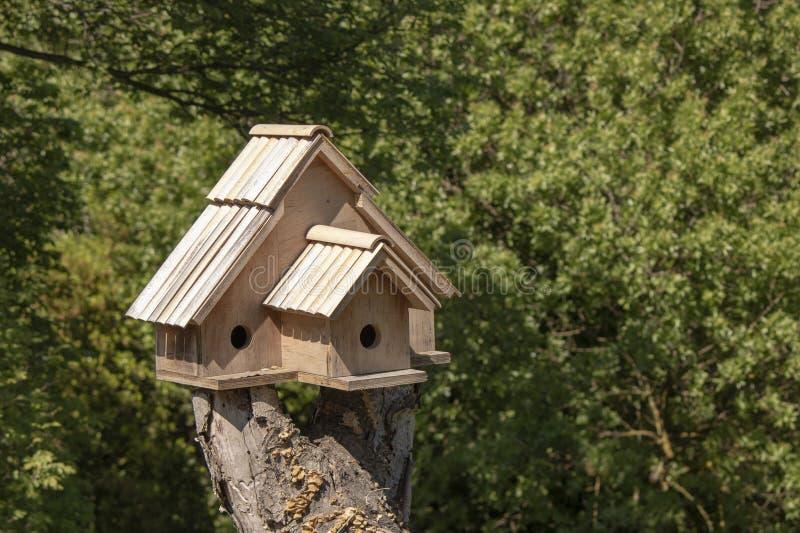 Houten vogelhuis op de boom stock afbeelding
