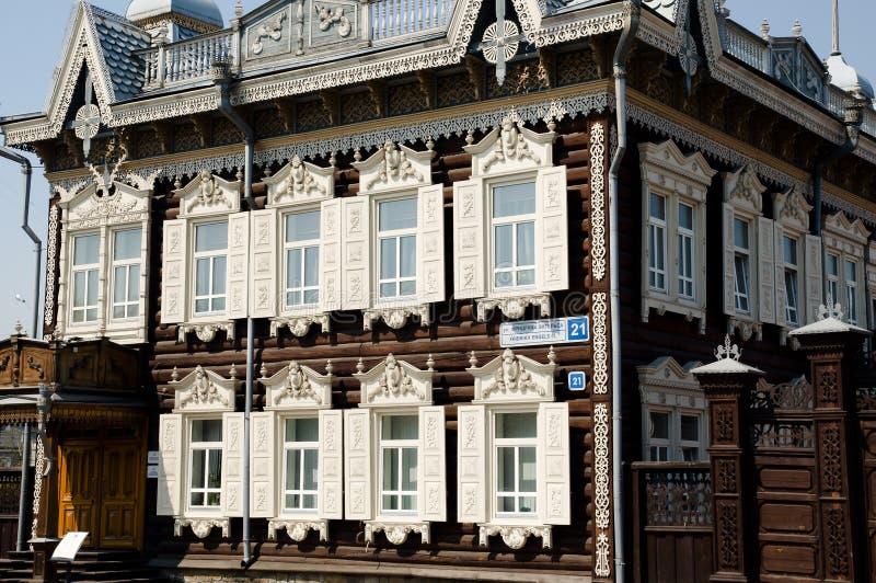 Houten Voorgevel - Irkoetsk - Rusland stock fotografie