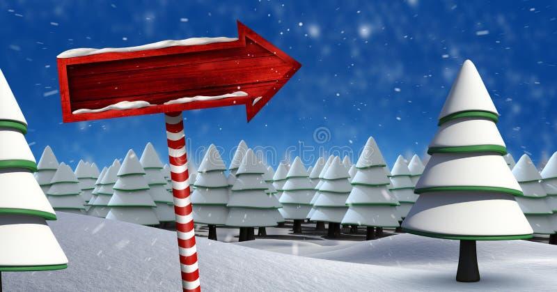 Houten voorzie in het landschap van de Kerstmiswinter met bomen van wegwijzers royalty-vrije illustratie