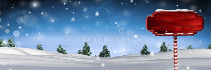Houten voorzie in het landschap van de Kerstmiswinter van wegwijzers vector illustratie