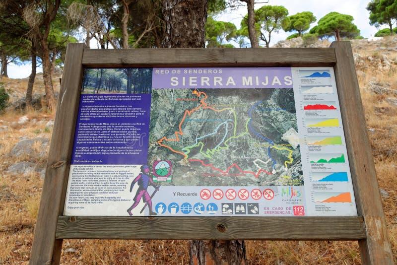 Houten voorzie voor wandelaars in Mijas, Andalusia, Zuidelijk Spanje van wegwijzers royalty-vrije stock foto's