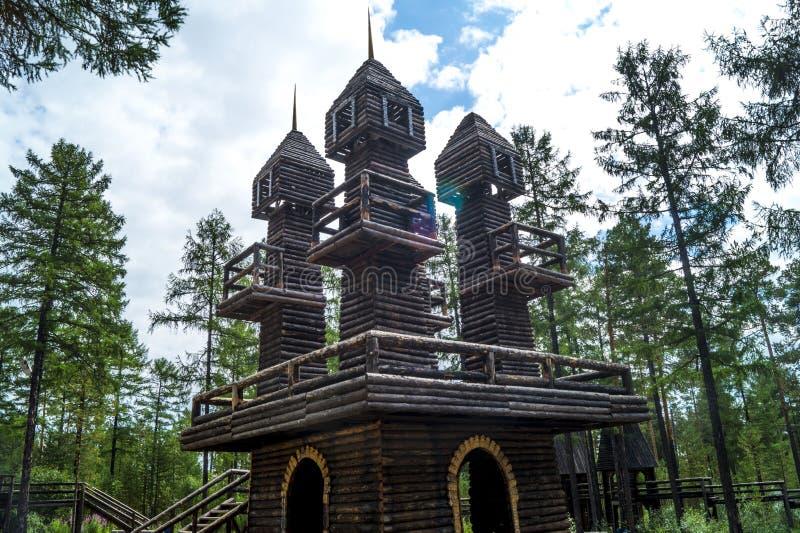 Houten watchtowers royalty-vrije stock fotografie