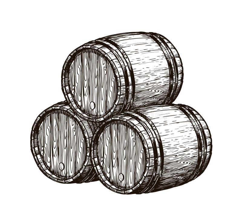 Houten wijnvatten Wijnbereiding, wijnkelder, alcoholische drankschets Hand getrokken uitstekende vectorillustratie royalty-vrije illustratie
