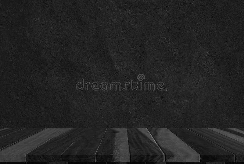 Houten zwarte textuur als achtergrond, donkere houten bl van de de bovenkantmening van de barlijst stock afbeelding