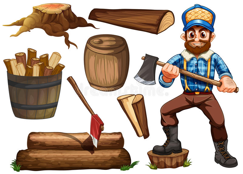 Houthakker en brandhout royalty-vrije illustratie