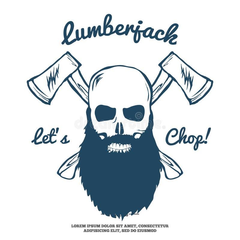 Houthakker Skull met baard en Gekruiste Assenvector vector illustratie