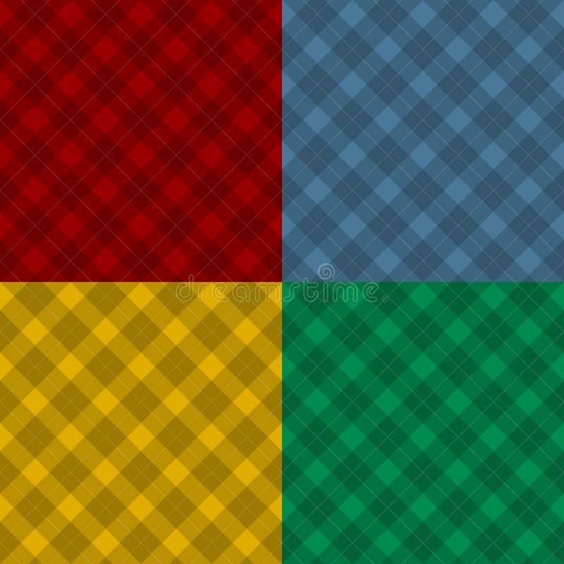 Houthakker vier naadloze kleuren geruite diagonale vierkante plaid vector illustratie