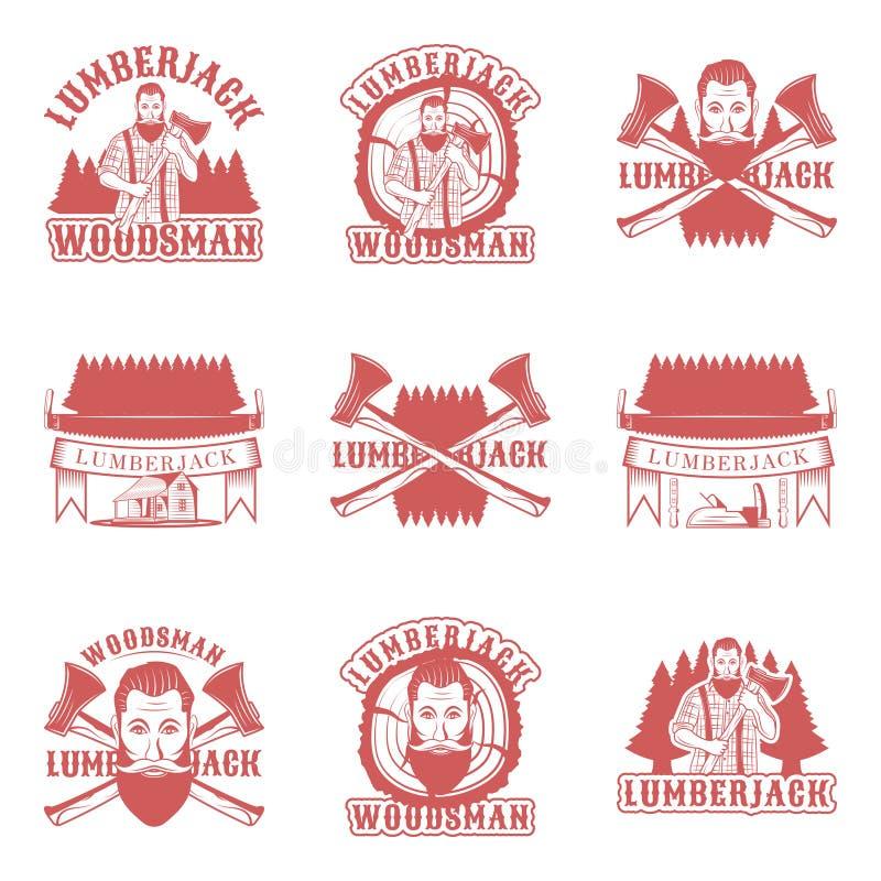 Houthakkersreeks vector uitstekende emblemen, etiketten, kentekens en emblemen in zwart-wit stijl op witte achtergrond royalty-vrije illustratie