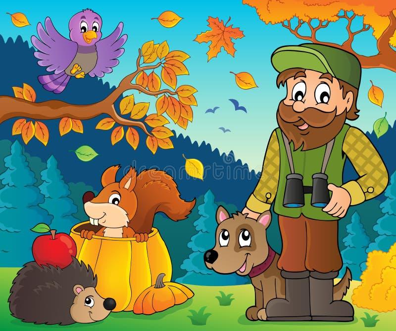 Houtvester en de herfstdierenthema 1 vector illustratie