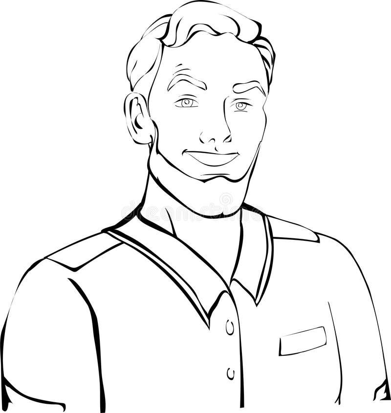 Houtvester, militair met het kapsel in jasje, overhemd stock illustratie