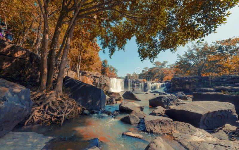 Houw Su Wat Waterfall, Pak Chong District, Nakhon Ratchasima, Tha royalty-vrije stock afbeelding