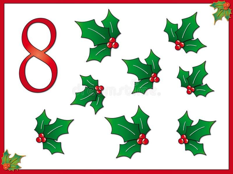 houx de 8 12 jours de Noël illustration libre de droits