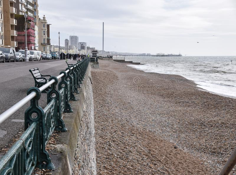 Hove Beach View. Hove, United Kingdom - March 29 2018: The view down hove beach into Brighton royalty free stock photo