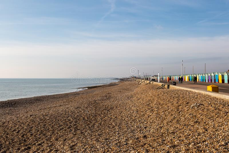 Hove Promenade. Looking along Hove seafront towards Shoreham, on a sunny winters day royalty free stock photo