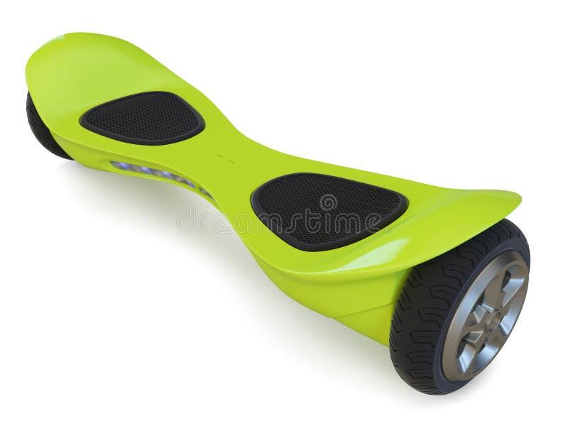 Hoverboard da cor verde no branco ilustração do vetor