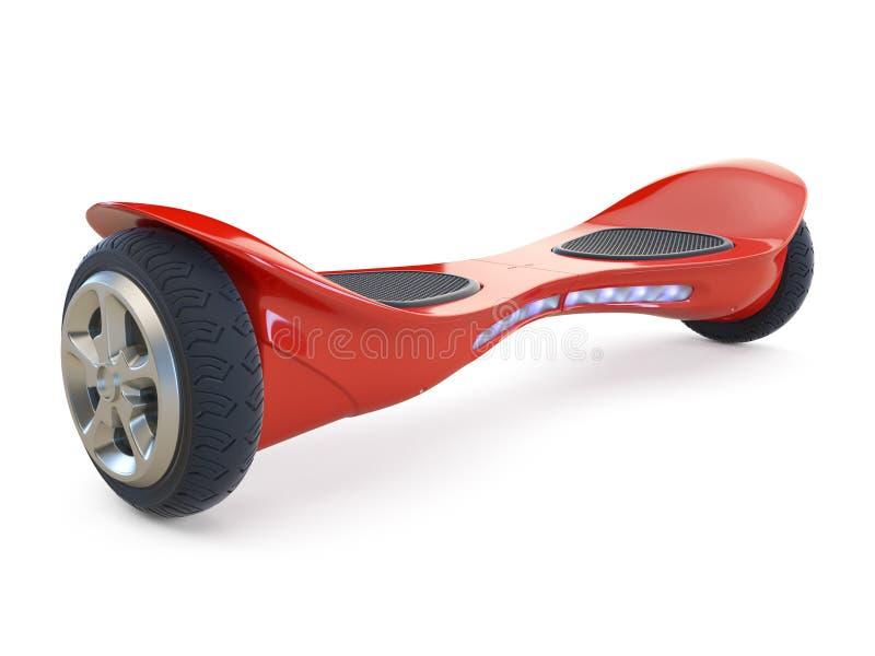Hoverboard de couleur rouge sur le blanc illustration stock