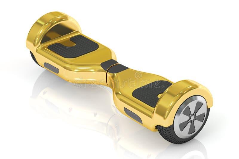 Hoverboard dourado ou 'trotinette' deequilíbrio, rendição 3D ilustração royalty free