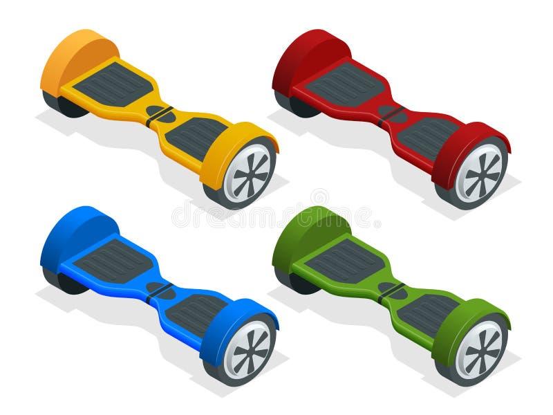 Hoverboard ou Gyroscooter isométrico Desenhos animados 'trotinette' elétrico deequilíbrio Eco alternativo ilustração royalty free