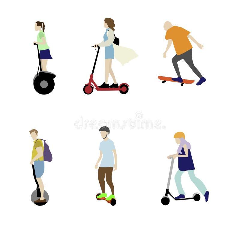 Hoverboard y patín de la vespa Transporte eléctrico individual ilustración del vector