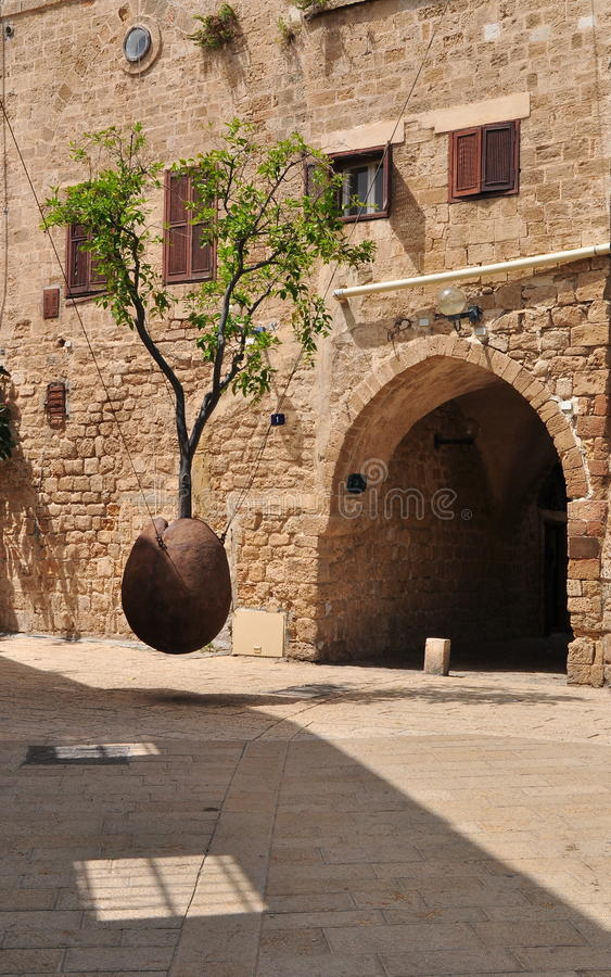 Hovering Orange Tree. Jaffa. Israel. The sculpture is supposed to be a symbol of Israel's prosperity, and some see in it a metaphor for the Jewish people royalty free stock images