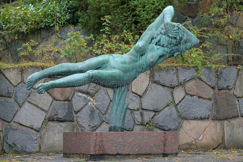 Hovering Woman sculpture in Millesgarden sculpture garden. Hovering Woman sculpture by Carl Milles in Millesgarden sculpture garden in Stockholm, Sweden stock photos