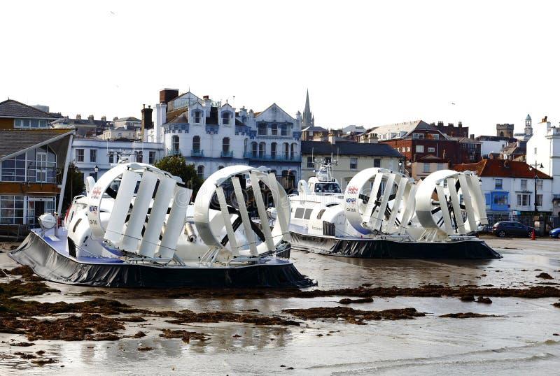 Hovertravel é uma empresa de balsa que opera-se de Southsea, Portsmouth a Ryde, ilha do Wight, Reino Unido fotos de stock royalty free