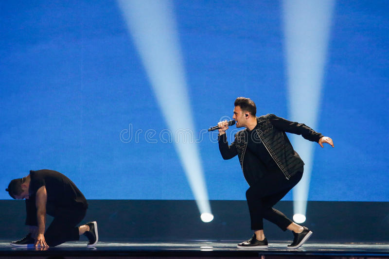 Hovig from Cyprus Eurovision 2017. KYIV, UKRAINE - MAY 12, 2017: Hovig from Cyprus at the Grand Final rehearsal during Eurovision Song Contest, in Kyiv, Ukraine royalty free stock photography