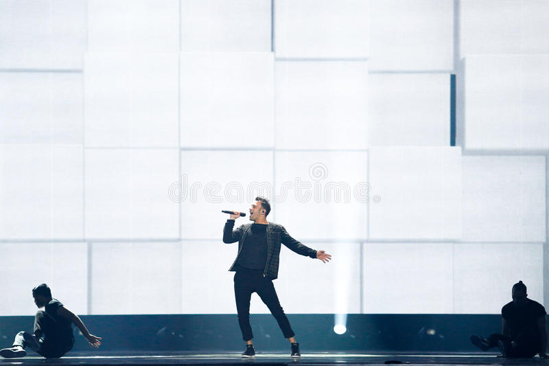 Hovig from Cyprus Eurovision 2017. KYIV, UKRAINE - MAY 12, 2017: Hovig from Cyprus at the Grand Final rehearsal during Eurovision Song Contest, in Kyiv, Ukraine royalty free stock images