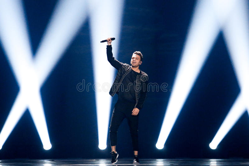 Hovig from Cyprus Eurovision 2017. KYIV, UKRAINE - MAY 12, 2017: Hovig from Cyprus at the Grand Final rehearsal during Eurovision Song Contest, in Kyiv, Ukraine stock photo