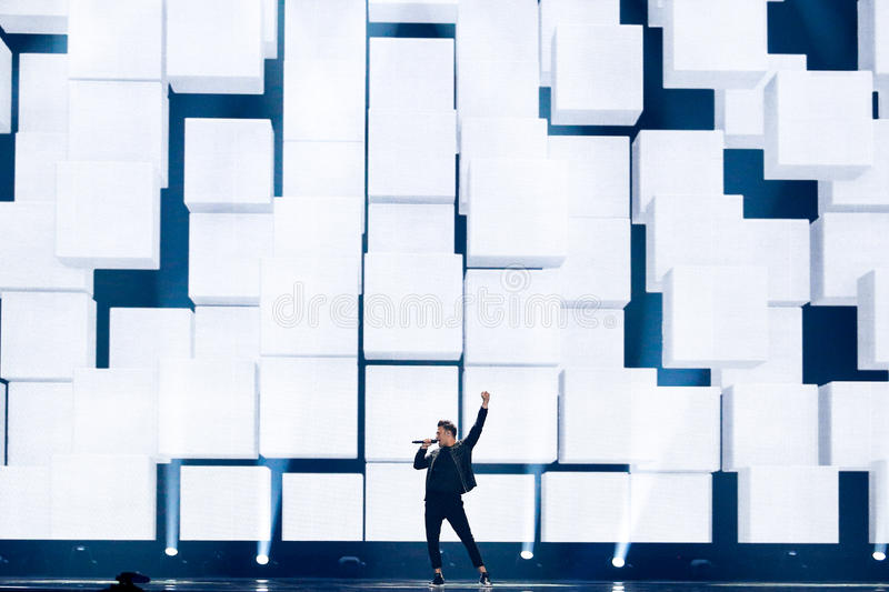 Hovig from Cyprus Eurovision 2017. KYIV, UKRAINE - MAY 12, 2017: Hovig from Cyprus at the Grand Final rehearsal during Eurovision Song Contest, in Kyiv, Ukraine stock image
