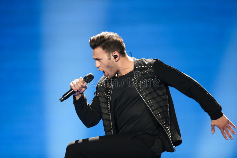 Hovig from Cyprus at the Eurovision Song Contest. KYIV, UKRAINE - MAY 08, 2017: Hovig from Cyprus at the first semi-final rehearsal during Eurovision Song royalty free stock photos