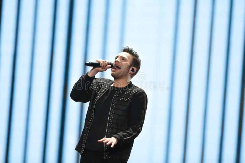 Hovig from Cyprus at the Eurovision Song Contest. KYIV, UKRAINE - MAY 08, 2017: Hovig from Cyprus at the first semi-final rehearsal during Eurovision Song royalty free stock image
