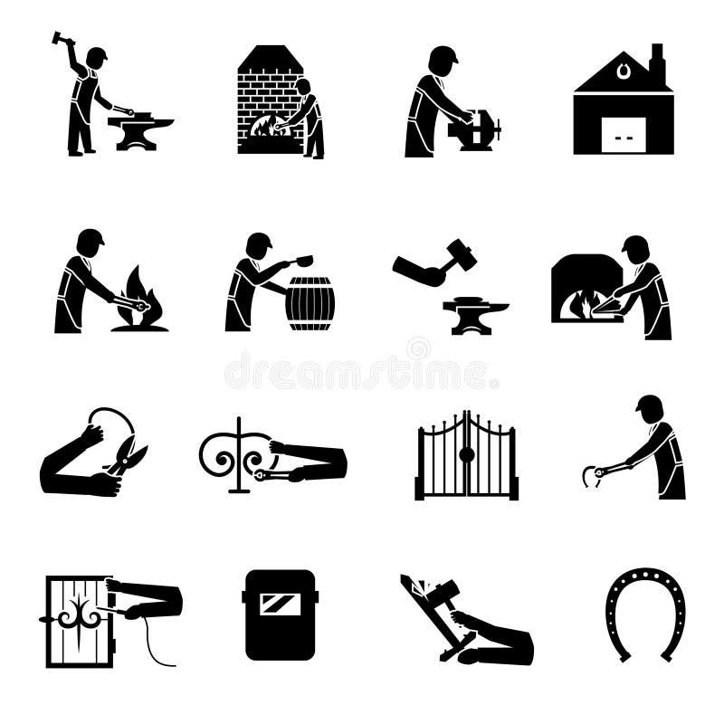 Hovslagare Icons Black stock illustrationer